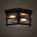 Industrial 14''W Flushmount Ceiling Light with Clear Glass Shade in Vintage Style, Black