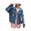 Popular Lightning Letter Face Applique Button Down Pockets Denim Jacket
