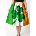 Elegant Elastic Waist Clover Printed Color Block Flared Midi Skirt