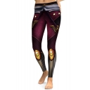 Casual Superhero Color Block Slim-Fit Elastic Waist Leggings