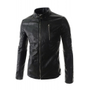 Simple Plain Long Sleeve Stand-Up Collar Faux Leather Jacket