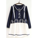 Girlish Cat Japanese Pattern Faux Straps Color Block Layered Mini Smock Dress