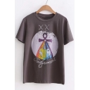 Fashion Letter Print Short Sleeve Round Neck Summer Tee