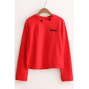 Letter Embroidered Round Neck Long Sleeve Cropped Loose Pullover Sweatshirt