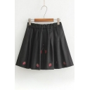 Cheery Embroidered Elastic Waist Woolen Pleated Mini Skirt