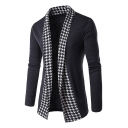 Gentleman's Houndstooth Color Block Open Front Slim-Fit Lapel Cardigan