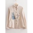 Embroidery Cartoon Cat Pattern Button Down Long Sleeve Lapel Shirt