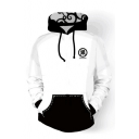 Trendy Color Block Cartoon Japanese Character Printed Pullover Monochrome Hoodie
