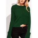 Popular Plain Round Neck Long Sleeves Asymmetrical Hem Ribbed Pullover Sweater