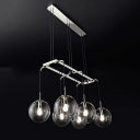 Industrial 6 Light Multi Light Pendant with Globe Glass Shade in Nordical Style, 25''W, Black