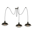 Industrial Multi Light Pendant with Metal Cage in Barn Style, 3 Light, Black