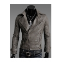 Fashion Faux Leather Plain Notch Lapel Long Sleeve Zipper Biker Jacket