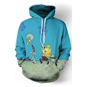 Chic Cartoon Underwater Spongebob Octopus Printed Long Sleeves Pullover Hoodie with Pocket