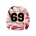 New Fashion Number Letter Print Long Sleeve Pullover Sweatshirt for Couple