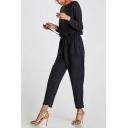 Fashion Basic Plain Round Neck Drawstring Waist Jumpsuits