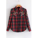 Trendy Floral Embroidered Plaid Long Sleeve Lapel Shirt