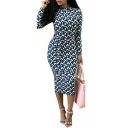 Stylish Geometric Printed High Neck Slim-Fit Midi Bodycon Slim-Fit Dress