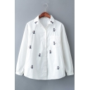 Chic Cat Cartoon Embroidered Long Sleeves Button Down Shirt