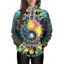 New Stylish 3D Sun Moon Print Pocket Long Sleeve Hoodie for Couple