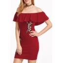 Stylish Floral Embroidered Off the Shoulder Ruffle Detail Bodycon Mini Dress