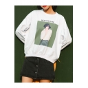Retro Style Graphic Character Letter Printed Round Neck Long Sleeves Loose Sweatshirt