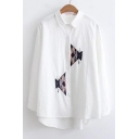 Stylish Geometric Embroidered Dipped Hem Long Sleeves Button Down Shirt