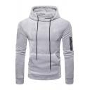 Chic Plain Zipper Detail Long Sleeves Pullover Velvet Hoodie with Pocket