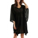 New Trendy Plain Batwing Sleeve V-Neck Simple Plain Drawstring Waist Dress