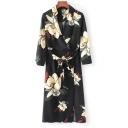 Summer's Fashion Floral Pattern V-Neck Long Sleeve Midi Wrap Dress