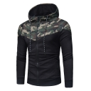 Chic Color Block Camouflage Print Zip Up Long Sleeve Hoodie
