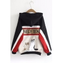 Popular Dog Cartoon Letter Printed Color Block Hooded Zippered Coat