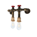 Industrial 14''W Multi Light Wall Sconce with 2 Light in Open Bulb Style