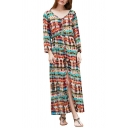 Tie Dye V Neck Long Sleeve Split Front Elastic Waist Maxi Dress