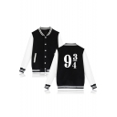 Chic Number Color Block Print Single Breasted Stand-Up Collar Baseball Jacket