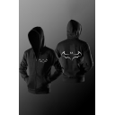 Cool Bat Pattern Simple Long Sleeves Zippered Hoodie with Pockets