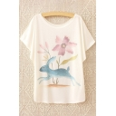 Cute Cartoon Rabbit Printed Round Neck Batwing Short Sleeve Loose Tee