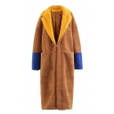 Stylish Color Block Notched Lapel Faux Fur Single Button Longline Coat with Pockets