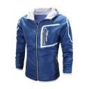 Popular Letter Pattern Slim-Fit Hooded Zippered Long Sleeves Jacket with Pockets