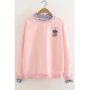 Fake Two-Piece Long Sleeve Drink Embroidered Pullover Sweatshirt