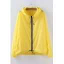 Trendy Plain Drawstring Waist Long Sleeves Zippered Hooded Trench Coat