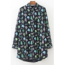 Childish Graffiti Tree Allover Pattern Point Collar Long Sleeves Button Down Tunic Shirt