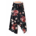Fashionable Floral Print Tie Front Zip Fly Asymmetric Hem Skirt