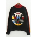 Chic Geometric Letter Print Long Sleeve Turtleneck Pullover Sweater