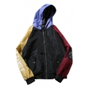 Casual Color Block Letter Pattern Long Sleeves Zippered Trench Jacket with Flap-Pockets