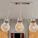 Industrial Simple 3 Light Multi Light Pendant with Glass Shade