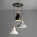 Industrial 3 Light Multi Light Pendant with Metal Shade in Nordical Style