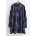 Floral Embroidered Plaid Pattern Long Sleeve Button Ruffle Hem Lapel Dress