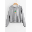 Leisure Cactus Print Drawstring Hood Long Sleeve Hoodie