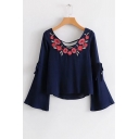 Women's Fashion V-Neck Floral Embroidered Bell Bow Sleeves Dipped Hem Blouse