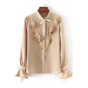 Fashionable Ruffle Snowflake Embroidered Button Down Bell Sleeves Bow Neck Shirt